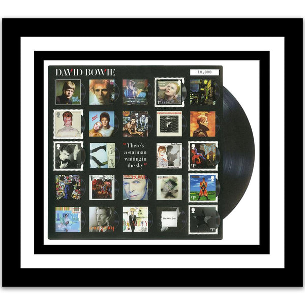 Framed Royal Mail limited edition. David Bowie album art fan sheet.