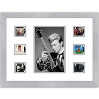 Framed limited edition David Bowie stamps & printed signature.