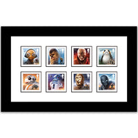 Framed Royal Mail set of 1st class stamps to commemoratve the release of the 8th Star Wars film.