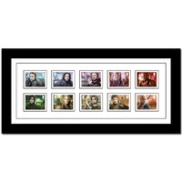 Framed Royal Mail Game of Thrones Stamps.