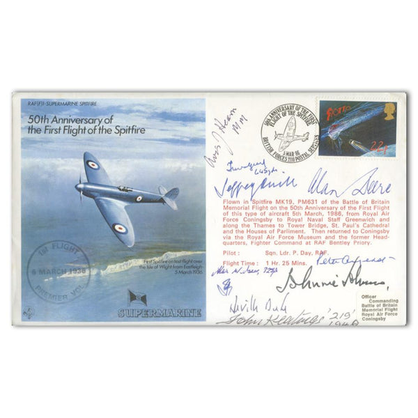 1986 50th Anniversary 1st Flight Spitfire. 9 signatures including 6 BoB Pilots.