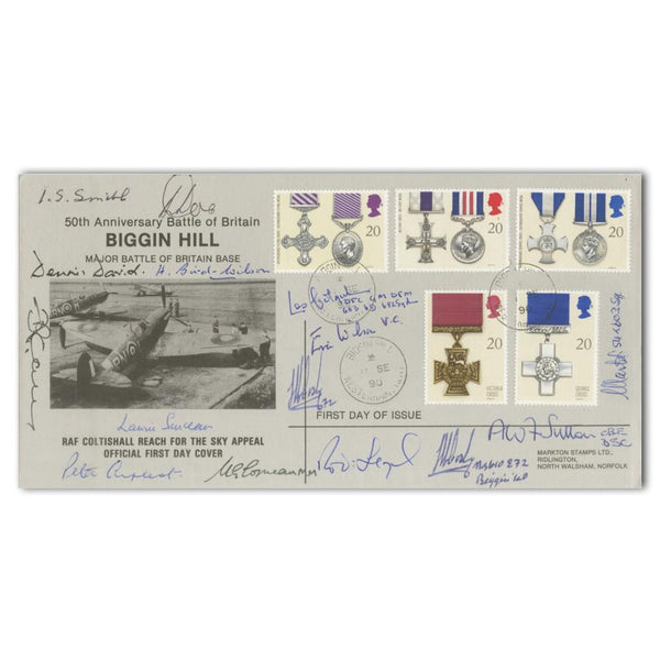 1990 Galllantry 50th Anniversary Biggin Hill Commemorative Cover Signed 15 B.of Brit. Pilots