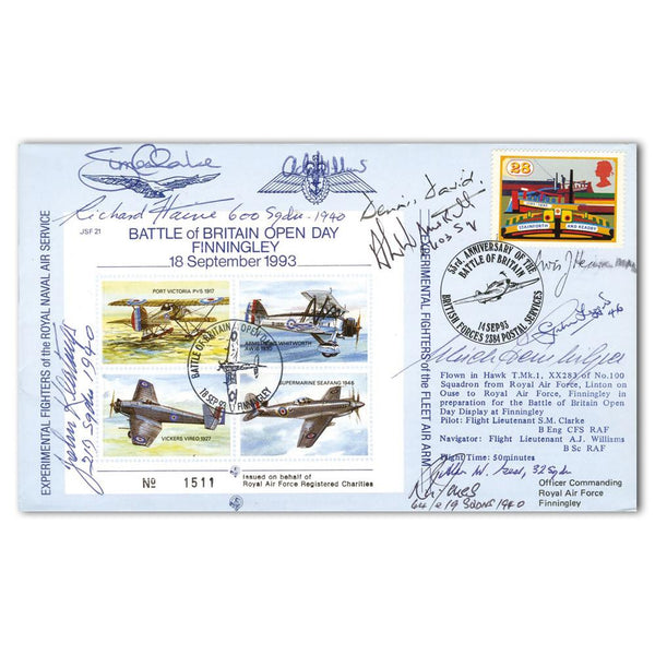 Battle of Britain 53rd Anniversary Commemorative Cover Signed by 9 Battle of Britain Pilots