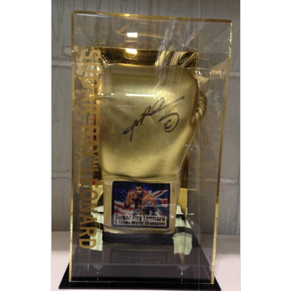 Sugar Ray Leonard Personally Signed Boxing Glove in Special Display Case