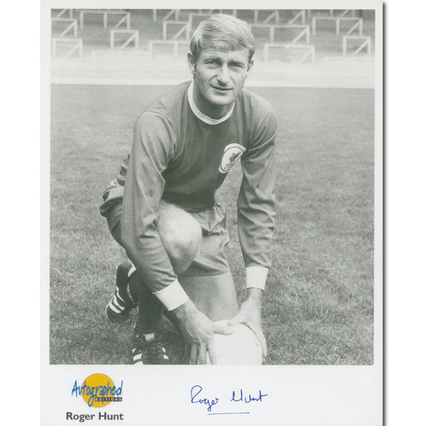 Black and white photograph of Roger Hunt, signed.