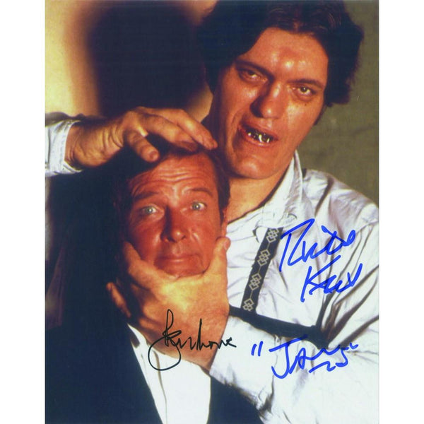 Signed colour photograph of Roger Moore & Richard Kiel.