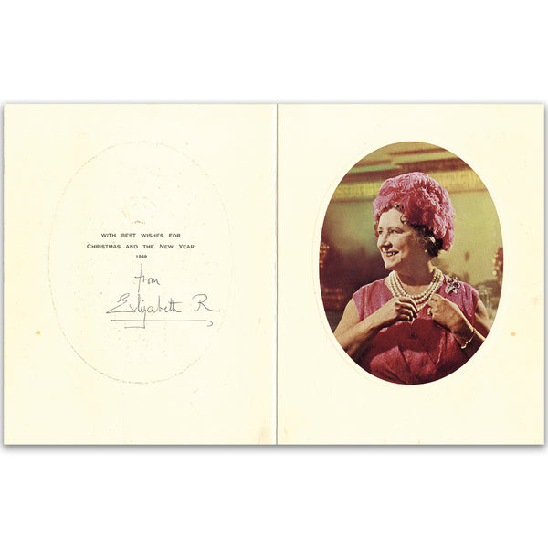 Christmas card signed by HM Queen Elizabeth, The Queen Mother. 1969