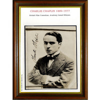 Charlie Chaplin Framed  Personally Signed Vintage Black & White Photo of a Young Charlie Chaplin