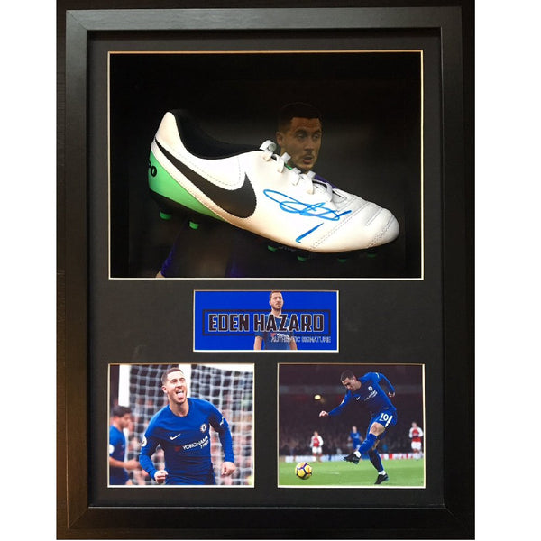 Eden Hazard Framed & Mounted Photo & Personally Signed Football Boot Display