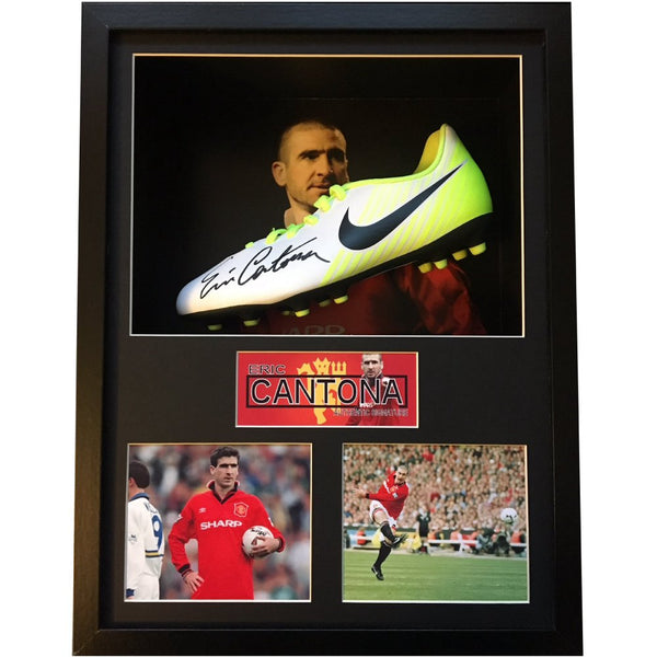 Eric Cantona – Framed & Mounted Personally Signed Photo & Football Boot Display