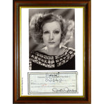 Greta Garbo Framed and Mounted Photo with Personally Signed Cheque