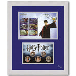 Harry Potter Stamp Sheet & Colourised Coins -  Framed