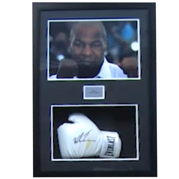Mike Tyson Framed Photo & Personaly Signed Glove Presentation Display