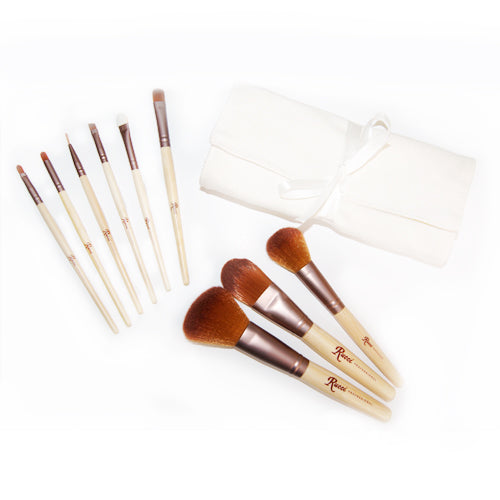 9-Piece Bamboo Cosmetic Brush Set
