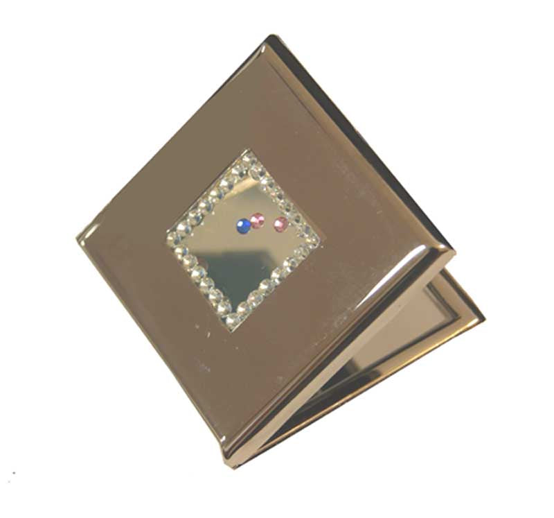 Square with Crystals Compact Mirror
