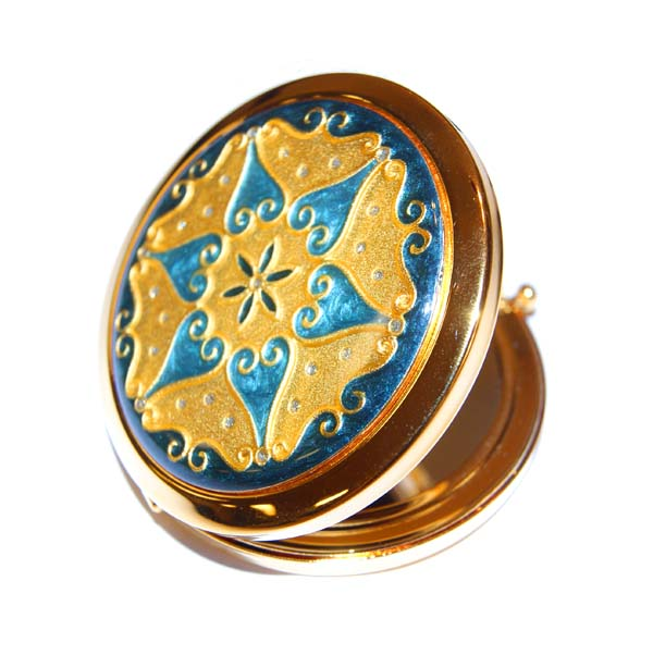 Classic Round Blue/Gold Star Design Compact Mirror, 2X/1X Magnification