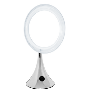 Chrome Trumpet Base L.E.D.-Lighted Mirror, 10X Magnification