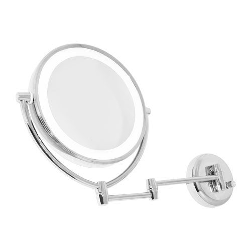 Chrome Wall-Mounted L.E.D.-Lighted Mirror
