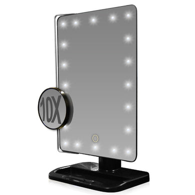 L.E.D.-Lighted/Movable 10X Magnification Vanity Mirror