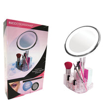 10X Magnification Lighted Vanity Mirror with 9-Slot Organizer