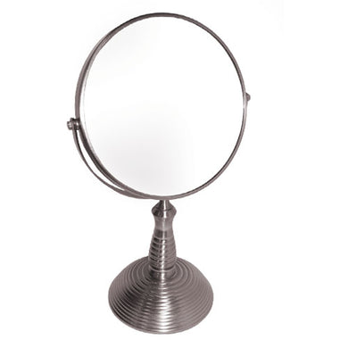 Classic Vertigo/Ribbed Nickel Satin Base Vanity Mirror, 7X/1X Magnification