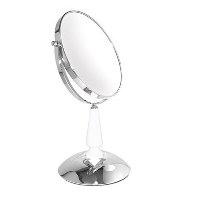 Classic Chrome White Glass Neck Mirror, 5X/1X Magnification