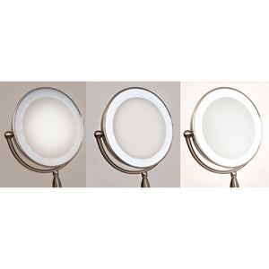 L.E.D.-Lighted Satin Nickel Sculpted Neck Mirror in 10 X Magnification