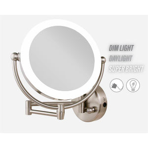 L.E.D.-Lighted Wall-Mounted Satin Nickel Mirror in 10 X Magnification