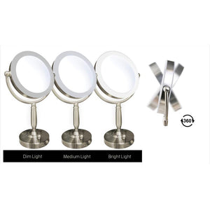 L.E.D.-Lighted Satin Nickel Plastic-framed Vanity Mirror, 10X Magnification