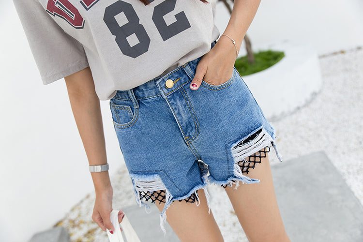 Fishnet Denim Shorts