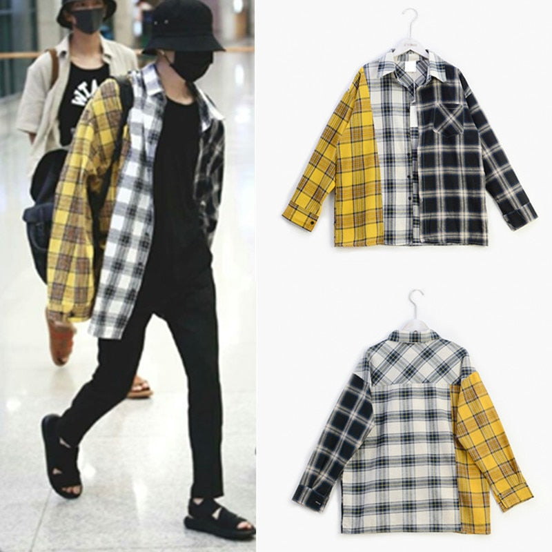 BTS Suga Tri-Color Plaid Shirt