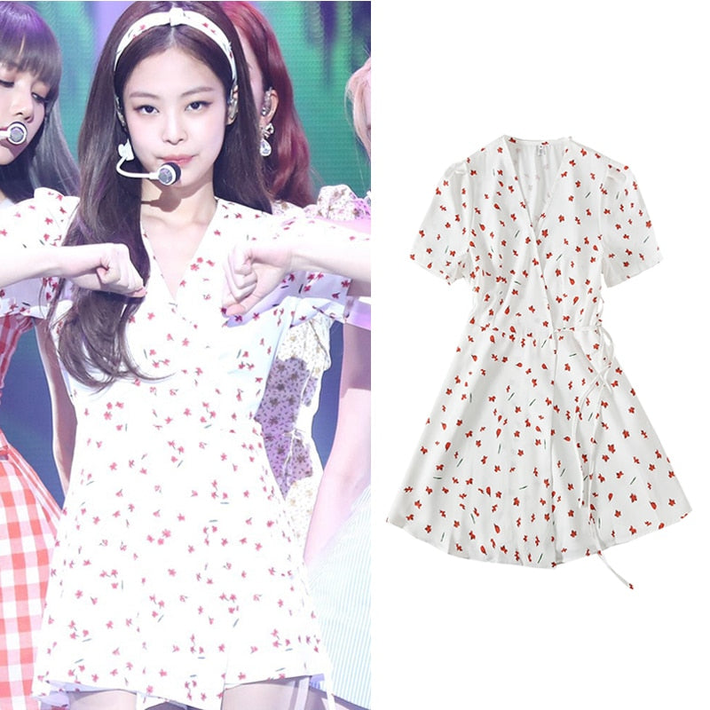 "BLACKPINK JENNIE ""Don't Know What To Do"" Floral Dress"