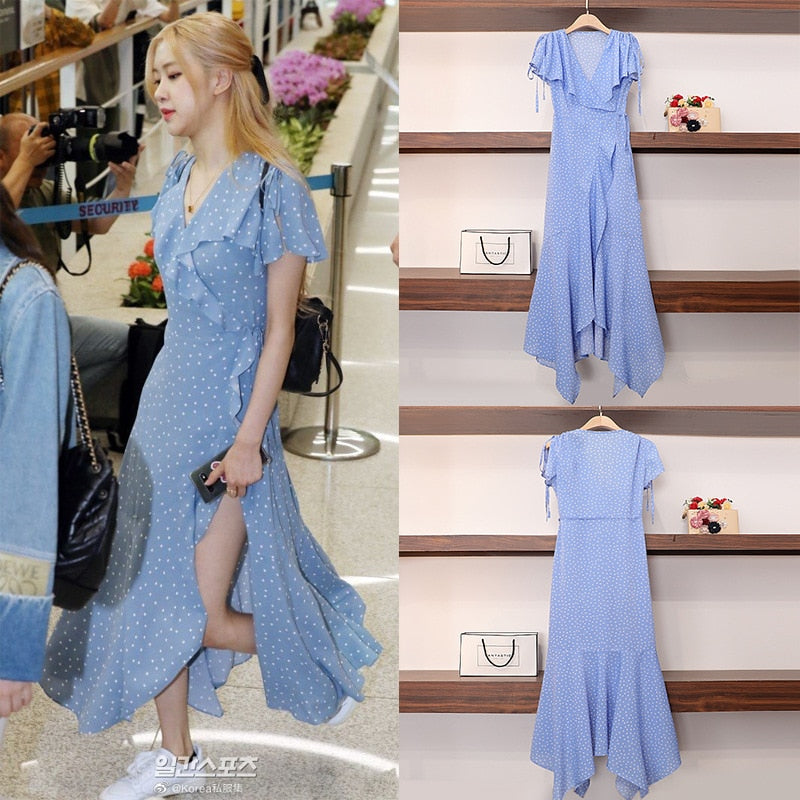 BLACKPINK Rosé Blue Summer Dress