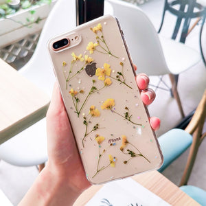 Real Flowers Transparent Soft TPU Phone Case For iPhone 11 X XS XR XS Max 6 6S 7 8 Plus Dried Flowers Bling beautiful Back Cover