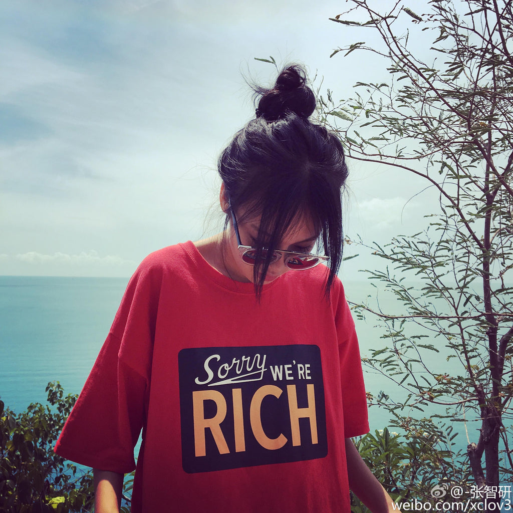 """Sorry We're Rich"" Oversized Top"