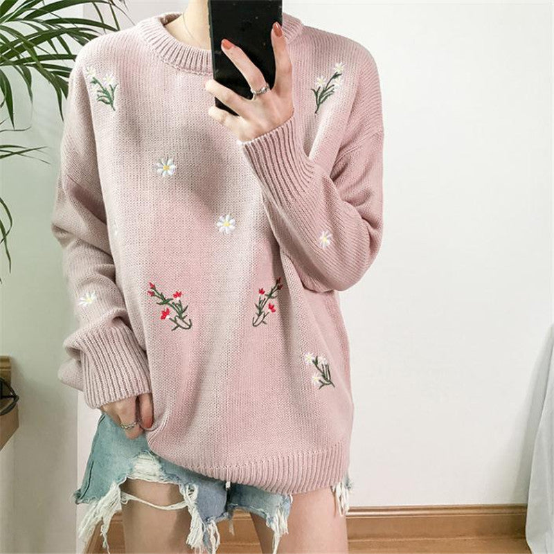 Sweet Flower Embroidery Sweater