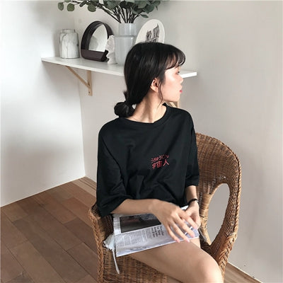 2018 Spring Summer Tops Girl Loose T-shirt Student Teenager Harajuku T shirt Women Japanese Letters Print Cotton BF Ulzzang Tee