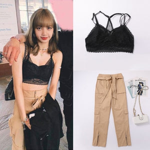 BLACKPINK Lisa Bralette and Khaki Outfit