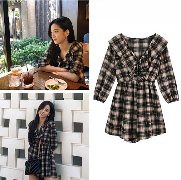 BLACKPINK Jisoo Plaid Dress