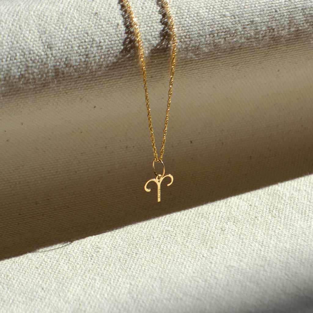 10k solid gold Aries zodiac sign pendant, Safran Collection