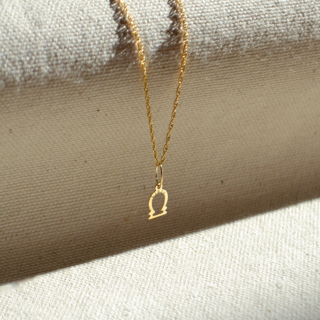 10k solid gold Libra zodiac sign pendant, Safran Collection