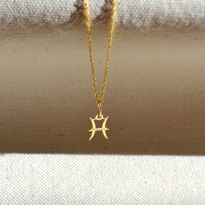 10k solid gold Pisces zodiac sign pendant, Safran Collection