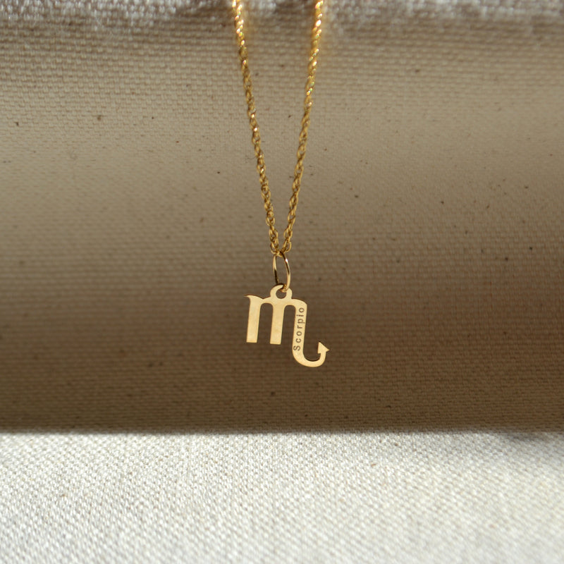 10k solid gold Scorpio zodiac sign pendant, Safran Collection