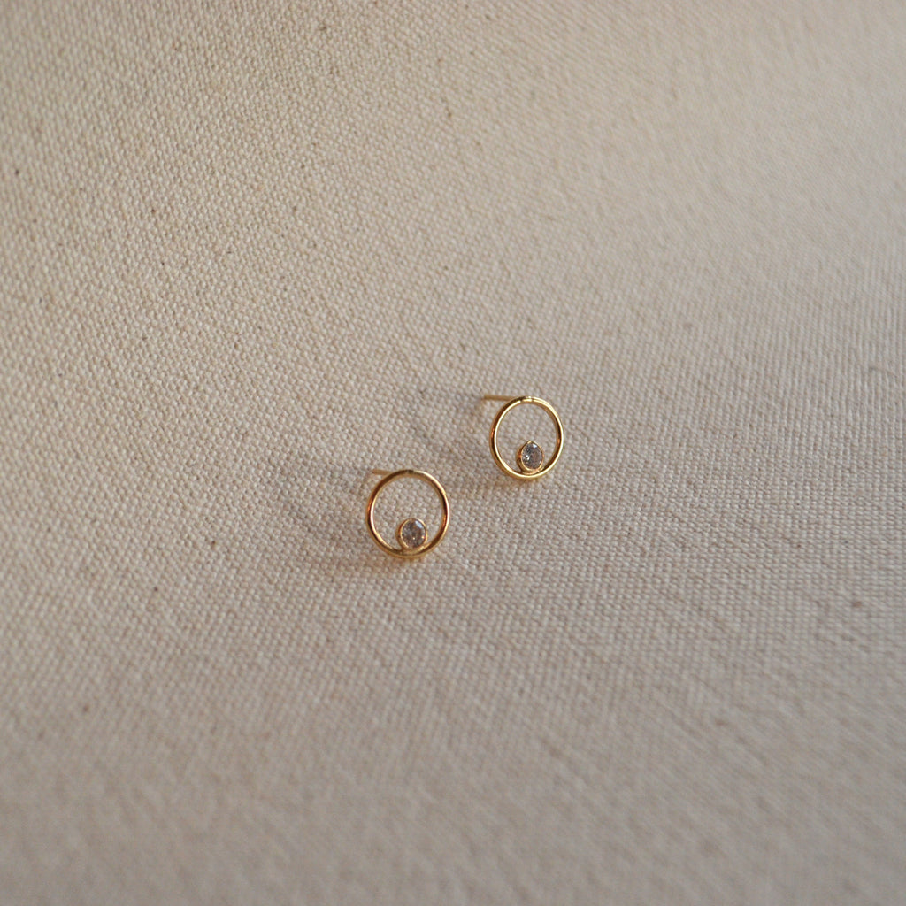 The Circle & Crystal Studs