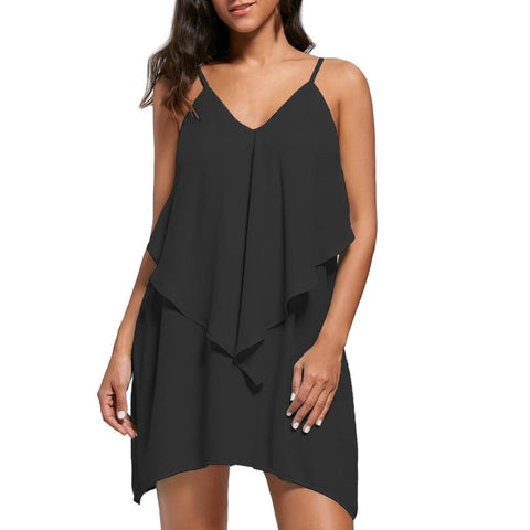 UONQD Fashion Sleeveless Overlay Ruffles