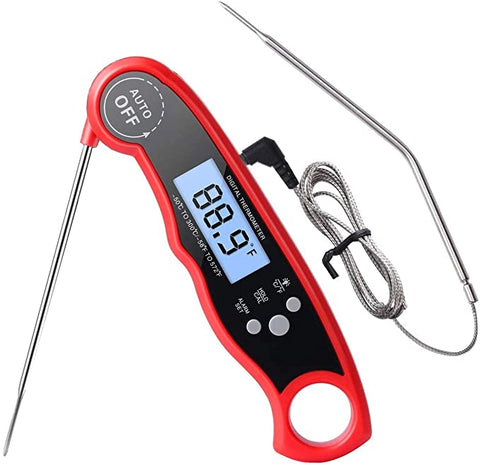 Thermometer Thermometers Function Backlight Grill(Red)
