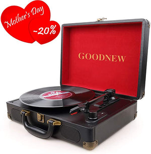 GOODNEW Portable Turntable Speakers Headphone