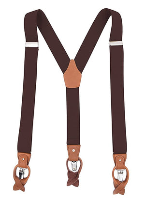 MENDENG Suspenders Leather Husbands Buttons