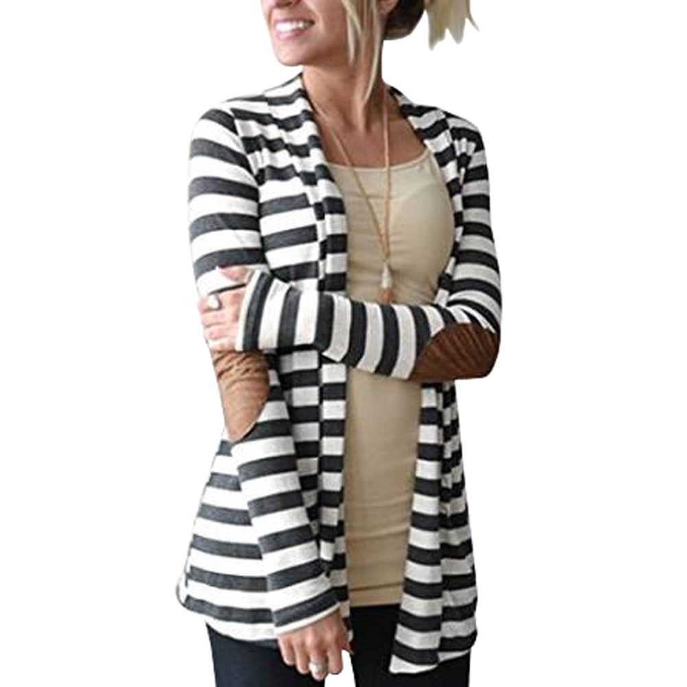 Womens Collar Striped Cardigan Sweater