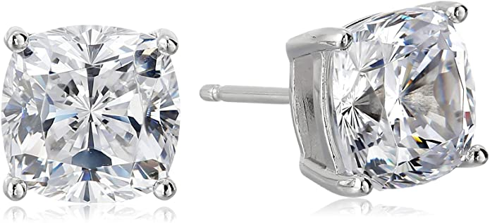 Platinum Sterling Cushion Zirconia Earrings